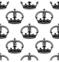 Seamless medieval crowns pattern background vector