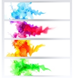 set four banners abstract headers with colored vector image