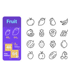 Set fruit simple lines icons fresh products vector