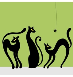 Set of black cat silhouettes vector