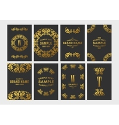 Set of Floral Logo Frame and Monogram Golden on vector image