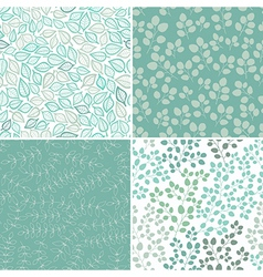 Set of Four Seamless Pattern With Leaf Abstract vector