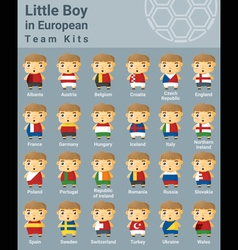 Set of kids in European sport team kits vector image