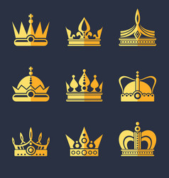 Set of rich golden crowns flat vector