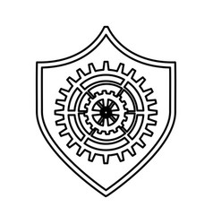 shield security with gear isolated icon vector image