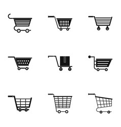shopping cart icon set simple style vector image