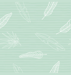 silhouette leaves seamless striped mint background vector image