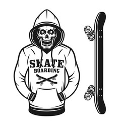 Skull of skater in hoodie and skateboard objects vector