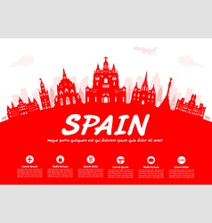 Spain travel landmarks vector
