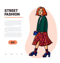 Street fashion beautiful girl in trendy clothes vector