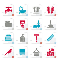 stylized bathroom and personal care icons vector image