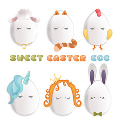 sweet easter egg characters funny easter eggs vector image
