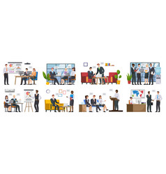 Teamwork or team building office business meeting vector