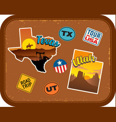 Texas utah travel stickers and retro text vector