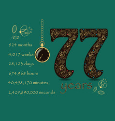 time counting card number 77 and pocket watch vector image