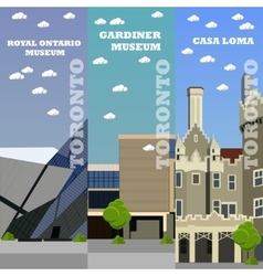 Toronto tourist landmark banners vector