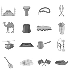 Turkey icons set gray monochrome style vector