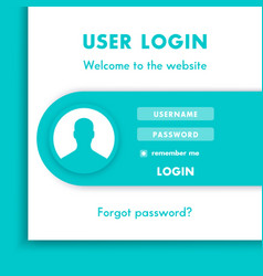 user login window login page design for website in vector image