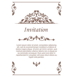 Vintage invitation card template for greeting vector