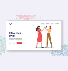 Vocal lessons landing page template female vector