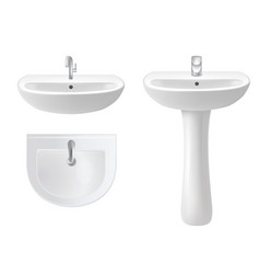 washbasin icon set realistic vector image
