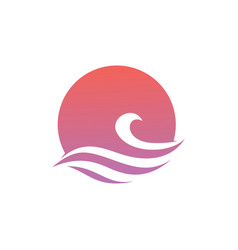 wave water sea sunset sun logo icon vector image
