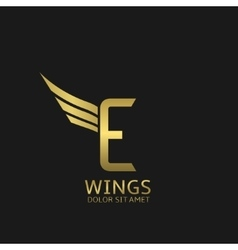 Wings E letter logo vector