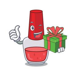 With gift nail polish mascot cartoon vector