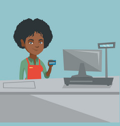 young african-american cashier holding credit card vector image