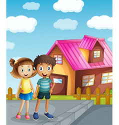 a kids and a house vector image