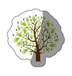 Color background sticker of tree with leaves in vector