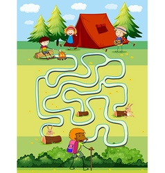 Game template with children camping in the field vector image
