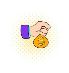 Money in hand icon comics style vector image