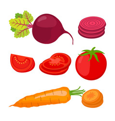 ripe vegetables and slices cartoon flat style vector image vector image