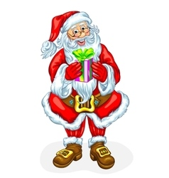Santa Claus with a gift in a box vector image