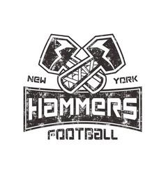 american football logo hammers new york sign vector image vector image