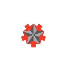 Faceted star logo 5 arrows converging star shape vector image