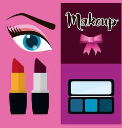 makeup cosmetic woman set vector image