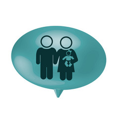 oval speech with pictogram of couple and baby vector image