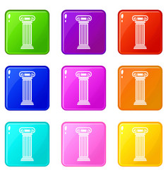 roman column set 9 vector image
