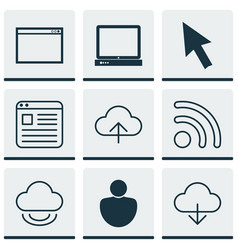 Set of 9 web icons includes wifi save data vector