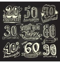 Anniversary signs chalkboard set vector image vector image