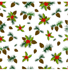 beautiful festive seamless background cones pine vector image