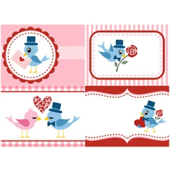 bird and rose flower set for valentine vector image vector image