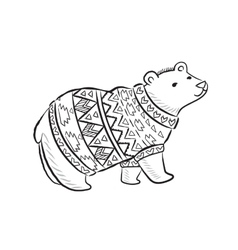 Hand drawn outline print with polar bear in winter vector image vector image
