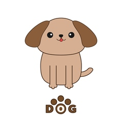 Little glamour tan Shih Tzu dog text with paw vector image