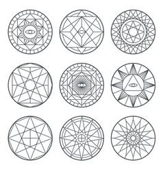 spiritual alchemy symbols medieval vector image