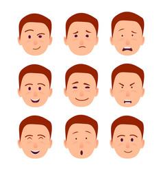 young cartoon character emotions set vector image