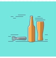 beer glass bottle flat design background vector image vector image