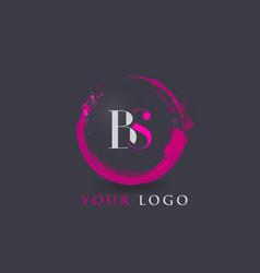bs letter logo circular purple splash brush vector image vector image